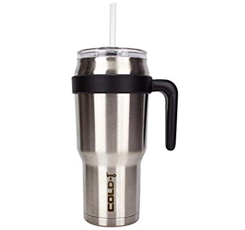 Reduce Cold-1 40 oz Insulated Coffee Mug With Straw and Lid – Large Capacity, 36 Hours Cold, Sweat-Proof Body – This Stainless Steel Tumbler is Perfect for Cold and Hot Drinks – Stainless Steel