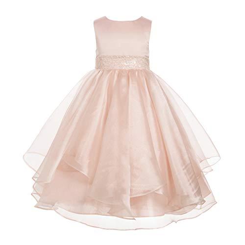 ekidsbridal Asymmetric Ruffled Organza Sequin Flower Girl Dress Toddler Girl Dresses 012S 6