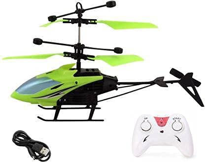 Radhe Krushna RC Flying Helicopter Remote Control and Hand Sensor Charging Helicopter Toys with 3D Light Toys for Boys Kids (Indoor Flying) Green Color