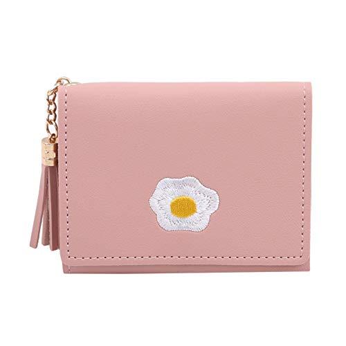 Zoomne - Cartera corta de piel sintética con diseño de huevo frito y bordado decorativo para tarjetas, regalo para mujer, rosa claro (Rosa) - Zoomne