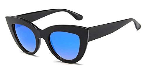 Gafas de sol para mujer - Gato - Mariposa - Cat eyes - Vintage - Retro - Diva - Moda - Idea regalo Montatura Nera - Lente Blu A Specchio Talla única