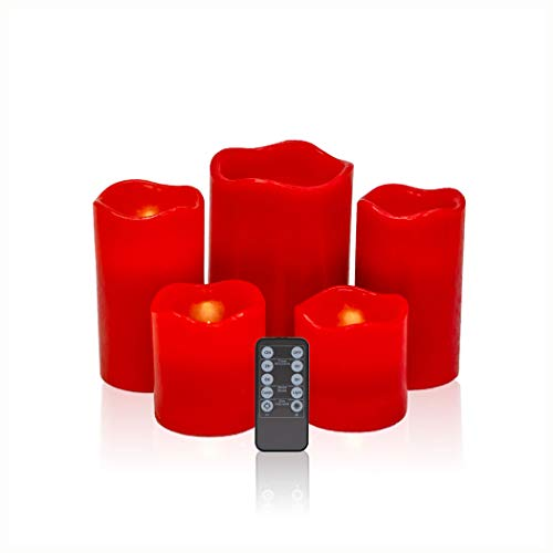 Urchoice Flameless Candles LED Candles Pack of 5 (H 6' x D 4',H 5' x D 3',H 3' x D 3') Red Real Wax Battery Operated Candles with Remote Timer