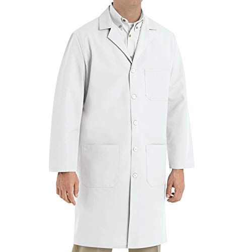 Red Kap Men's Exterior Pocket Original Lab Coat, White, 56