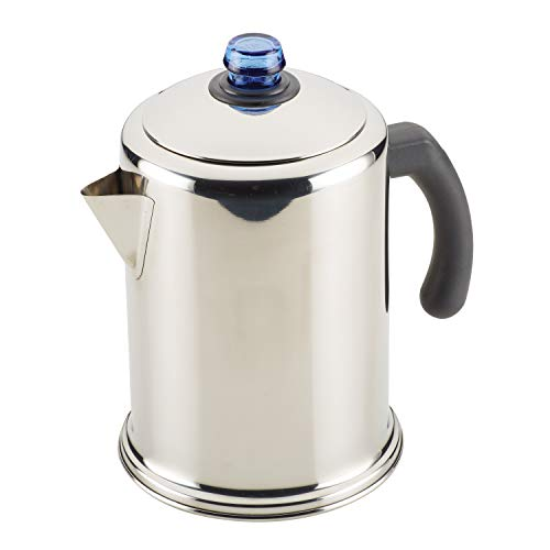 Farberware Classic Stainless Steel Coffee Percolator, 12 Cup, Silver with Glass Blue Knob