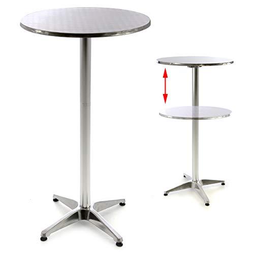 Nexos SC00064 Stehtisch Bartisch 110 cm Aluminium Silber glänzend Tischplatte 60 cm Platte 2 cm Edelstahl Hochzeit Empfangstisch Bistrotisch