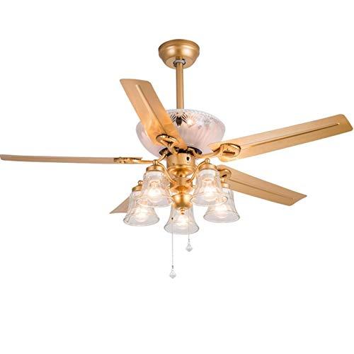 Lámpara de pie interior elegante y moderna, ventilador de techo moderno de 52 pulgadas con luces de control remoto, lámpara de araña con 5 bombillas, 5 palas de hélice, para sala de estar, dormitorio,
