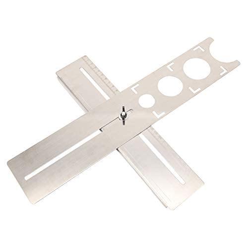 AUNMAS Localizador Ajustable de Orificios para Azulejos Regla de Acero Inoxidable Herramienta de medición de perforación de Taladro Universal para Cortar Vidrio cerámico con precisión