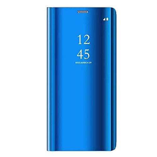 Caler Cover Compatibile con Samsung Galaxy S7 Edge Custodia Specchio Portafoglio Case Flip Silicone Trasparente Wallet in Pelle Bumper Folio Protector Copertura Mirror Libro Shell (Blu)