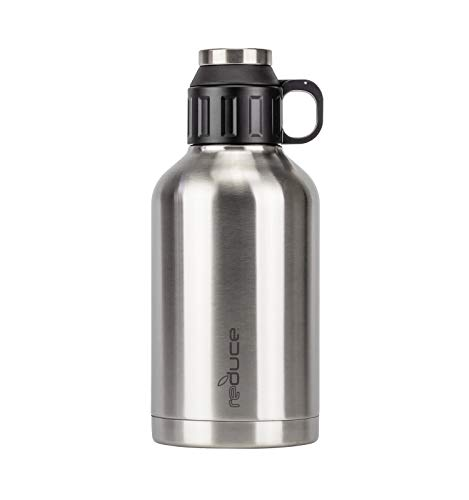 Reduce Insulated Growler, 64 oz – 48 Hours Cold, 12 Hours Hot – Vacuum Insulated, Large Capacity for Any Adventure – Dual Opening Leak-Proof Lid, Doubles as a Cup – Stainless Steel