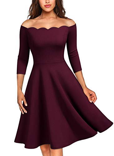 MISSMAY Women's Vintage Cocktail Party Half Sleeve Boat Neck Swing Dress, XX-Large, Burgundy