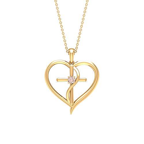 Rosec Jewels 10 quilates oro amarillo redonda morganita creada en laboratorio