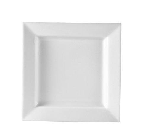 CAC China PNS-8 Princesquare 8-Inch Super White Porcelain Square Plate, Box of 24