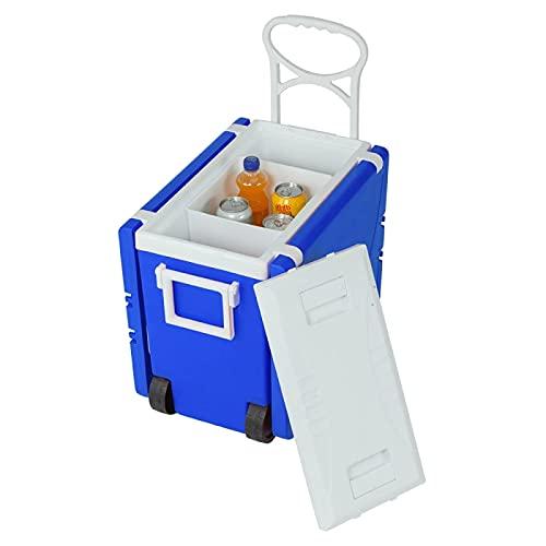 YAHAO Mesa y Sillas Portátiles para Acampar,Silla Plegable Multifuncional Plegable del Paño de Oxford del Taburete de La Mejora del Refrigerador Rodante