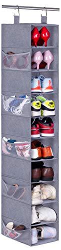 MISSLO Organizador de zapatos para colgar con 10 estantes y estantes de almacenamiento para sombreros, estante grande y bolsillos laterales de malla, color gris