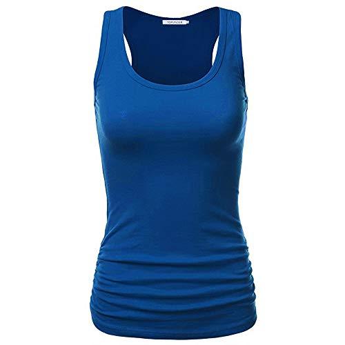 TWIFER Damen Sommer Tank Tops Racerback Einfarbig Rundhals Bluse Ärmellose T Shirt Weste (S, X-Blau)
