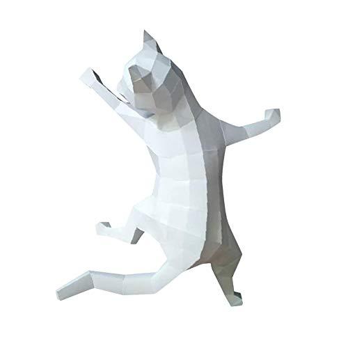 FLAMEER Papel de Pared Grande artesanía niños Adultos 3D Papercraft Plantilla Gatito Arte Origami artesanía decoración de la Pared Ornamento DIY Material - Blanco