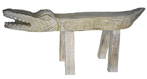 Hand Carved Florida Gator Alligator Crocodile Wood Bench Chair White Statue HUGE