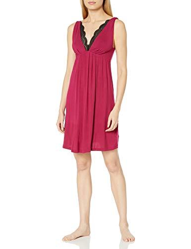 Amazon Brand - Arabella Women's Chemise with Lace Neckline, Berry, Small