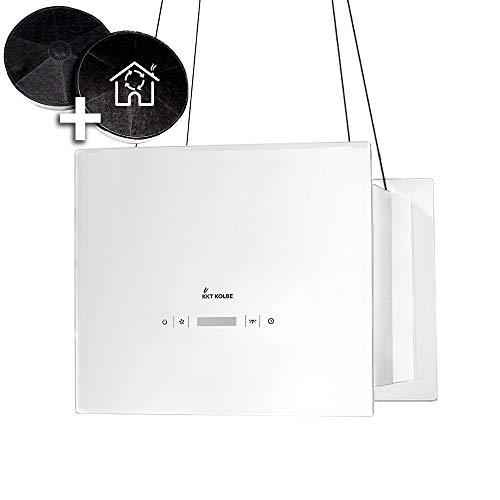 Design-Dunstabzugshaube, Inselhaube (40cm, Edelstahl, weißes Glas, Extra-leise, 4 Stufen, LED-Beleuchtung, TouchSelect Sensortasten, Seilbefestigung) BOX400W - KKT KOLBE