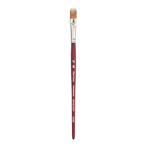 Princeton Velvetouch Artiste, Mixed-Media Brush for Acrylic, Watercolor & Oil, Series 3950 Filbert Grainer Luxury Synthetic, Size 3/8