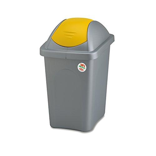 Weißer Mülleimer 30 Liter mit Gelbem Schwingdeckel robust und abwaschbar • Mülleimer Papierkorb Abfalleimer Abfallbehälter Mülltonne Eimer Mülltrennung, Gesamtgröße: ca. 29x39x50cm, Gewicht: ca 1kg.