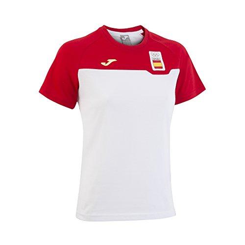Joma CE.301011W16 Camiseta Paseo, Hombre, Blanco/Rojo, M