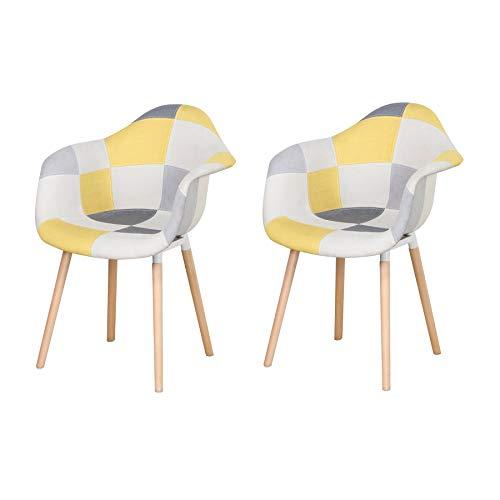 Uderkiny Juego de 2 sillas de Patchwork con reposabrazos, Aplica a la Cocina Sala Comedor, etc. (Amarillo)