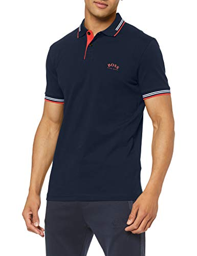BOSS Herren Paul Curved Poloshirt, Blau (Navy 411), X-Large (Herstellergröße: XL)