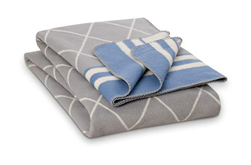 RIEMA Baumwolldecke Lene aus 100% Bio-Baumwolle (KBA) - Oeko-TEX Zertifiziert - kuschelige Wolldecke Made in Germany in grau mit blau - Plaid mit den Maßen: 150x200cm