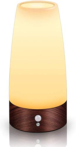 DPJ Bewegungsmelder Nachtlicht, batteriebetriebene Lampe, tragbare drahtlose LED-Tisch-Bett-Schreibtisch Leuchten (Rundholz),Rundholz