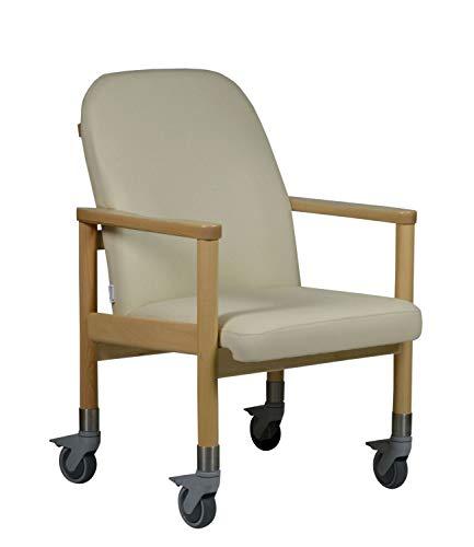 DEVITA Pflegestuhl Trippelstuhl Transportstuhl Seniorenstuhl LÜBECK mit großen Rollen - Hygiene-Kunstleder - bis 120 kg - Kunstleder Bisquit