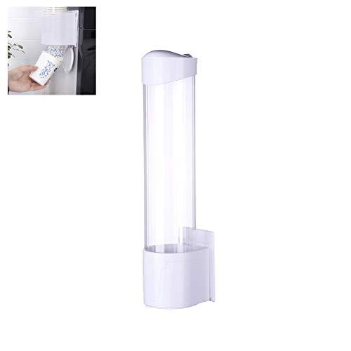 Kylewo Dispensador de Vasos de Montaje en Pared, dispensador de Vasos de Papel, dispensador de Vasos de Papel Antipolvo Soporte de plástico con Tapa de Cabeza de 7,5 cm 60 a 80 Vasos