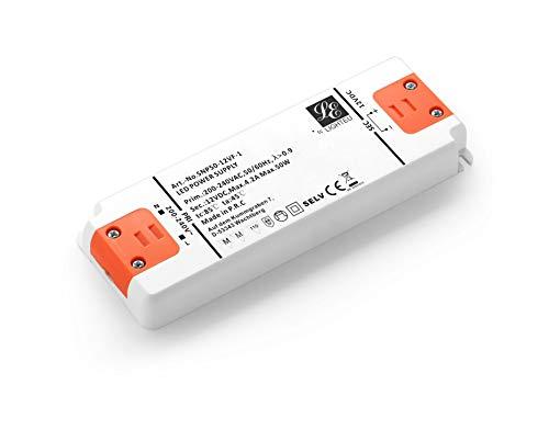 LIGHTEU, fuente de alimentación del transformador LED - 50W, 12V DC, 4A - Voltaje constante para las luces de tira del LED y las bombillas del LED G4, MR11, MR16