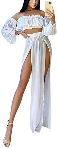 Loalirando 2 Pezzi Copricostume Donna a Manica Lunga Senza Spalline Abito da Spiaggia Sexy Elegante Bikini Cover Up in Pizzo (bianco, taglia unita)