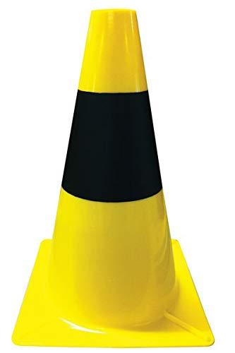 Conos de obra amarillos y negros para señalización de zonas peligrosas