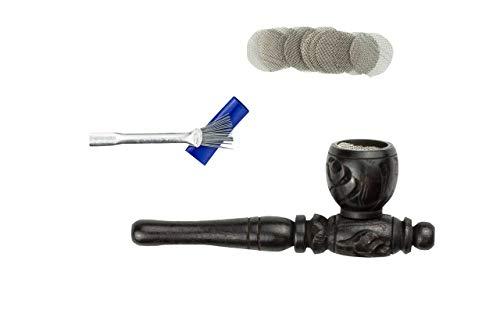 Weedness Holz-Pfeife in Schwarz 10 cm 3-teiliges Set - Ebenholz Tabak Pfeife Holz-Pfeifchen Smoking Pipe Holzpfeife Rauchen