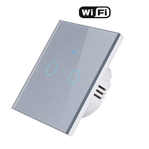 AOEIUV Interruttore Touch Screen per 2 luci 110-240v per Applique WiFi, 2 interruttori di Cristallo, Pannello interruttori in Vetro Cristallo,Gray