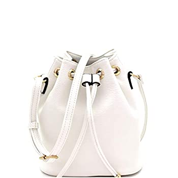 Casual Soft PU Leather Drawstring Small 2 Way Bucket Shoulder Bag Crossbody  White