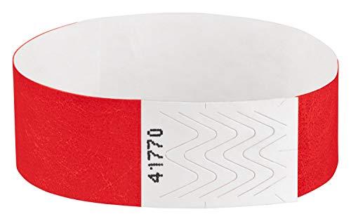 Pulseras de acceso Tyvek, pulseras de control, pulseras para festivales, pulseras de seguridad, pulseras de control, color rojo 100 Stück