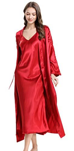 Women's Satin Chemise Nightgowns Spaghetti Strap Silk Slip Dress Spaghetti Strap Nightgown and Long Robe Set Sleeveless V Neck Nightgown Lingerie Red