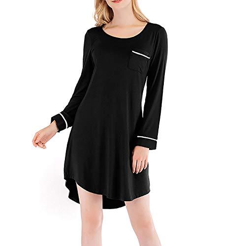 HUANSUN Vestidos de Bolsillo de Color sólido para Mujer, camisón de Moda, Manga Larga, Cuello Redondo, Vestido de casa para Mujer, Vestidos Casuales, Negro, XL
