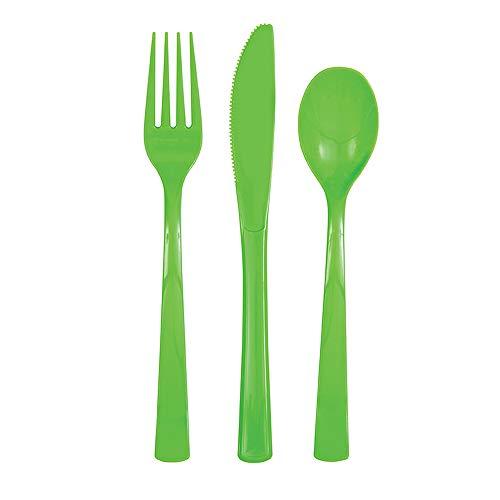 Unique Party Set di Posate in Plastica per 6 Persone - Verde Lime - 18 Pezzi