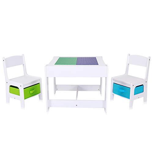Baby Vivo Kindersitzgruppe Kindertischgruppe Kindermöbel Kinderzimmer Set mit multifunktionalem Tisch und 2 Stühlen aus Holz - Moritz