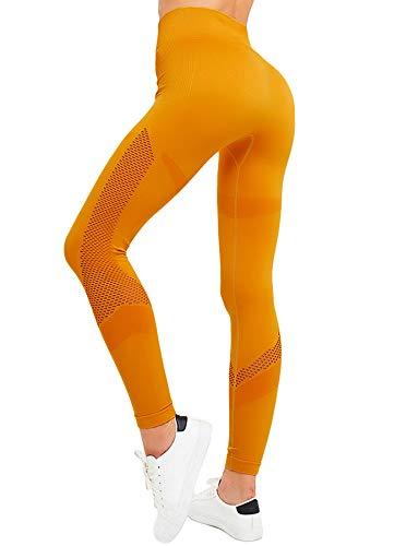 INSTINNCT Damen Yoga Lange Leggings Slim Fit Fitnesshose Sporthosen #2 Energie Stil - Gelb L