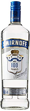 Smirnoff Triple Distilled 100 PROOF Vodka Blue Label 50% - 1000 ml