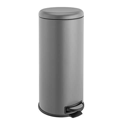 SVITA T30 Mülleimer grau Treteimer Abfalleimer 30 Liter inkl. Inneneimer rund Küchen-Hilfe Kücheneimer