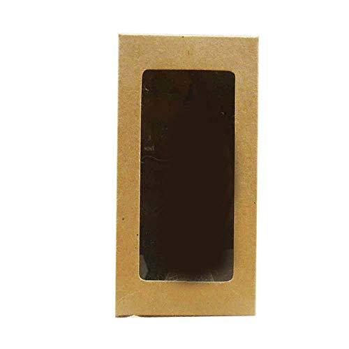 Geschenkdoos BLTLYX 50st Wit/zwart/rood/kraft Voorraadpapier Doos Met Schone PVC Venster Geschenk Snoep Bruiloft Verpakking 6x6x12cm Donker Khaki 3