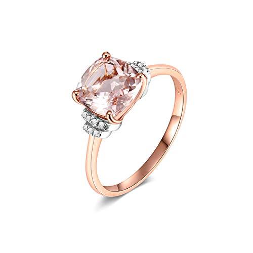 Beydodo Damen Ring 750 Gold Kissen Morganit 1.55ct Verlobungsring Rosegold Diamant Ring Gr.61 (19.4)