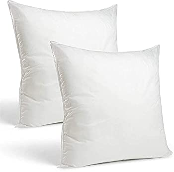 Niagara Sleep Solution Set of 2 16 x16  Bedding Pillows Insert Cushions Bed & Couch Pillows White Microfiber Washable Pillow Sham Down Alternative Polyester Fill Square Bed Pillows 2 Pack 16x16