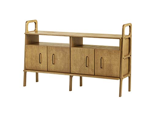 Plywood Project, Mid century sideboard, Scandinavian console, 2 cabinets with open shelves, 690 III, Baltic birch plywood, 90 cm tall, Custom, Oak Wood Color